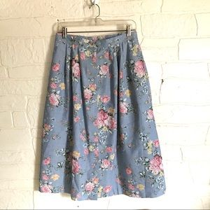 Floral Midi Skirt With Pockets Long Button Elastic